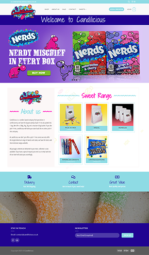 Freelance web designer project for Candilicious.co.uk