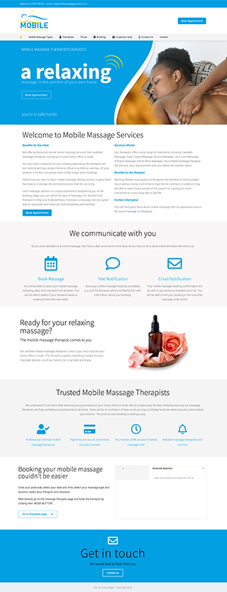 Freelance web designer project for mobile massage services